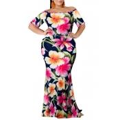 Lovely Bohemian Off The Shoulder Floral Printed Pink Floor Length Dress