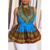 Lovely Ethnic Style O Neck Totem Printed Blue Blou
