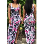 Lovely Casual U Neck Printed Side Split Rose Red A