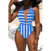 Lovely Sexy Deep V Neck Striped Blue One-piece Swimwear