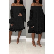Lovely Stylish Off The Shoulder Horn Sleeve Black