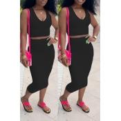 Lovely Casual V Neck Sleeveless Black Two-piece Skirt Set