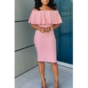 Lovely Stylish Off The Shoulder Striped Pink Knee