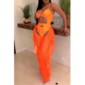 Lovely Sexy Hollow-out See-though Orange Two-piece Pants Set