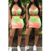 Lovely Sexy Spaghetti Strap Printed Pink Two-piece Skirt Set