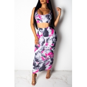 Lovely Casual U Neck Printed Rose Red Two-piece Sk