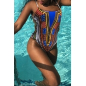 Lovely Printed Backless One-piece Swimwear