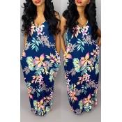 Lovely Stylish Printed Backless Dark Blue Floor Length Dress