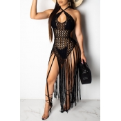 Lovely Sexy Hollow-out Tassel Design Black Swimdre
