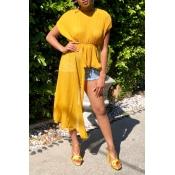 Lovely Stylish O Neck Asymmetrical Yellow Blouse