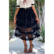 Lovely Chic Dot Printed Patchwork Black Mid Calf Skirts
