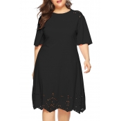 Lovely Casual O Neck Hollow-out Black Knee Length