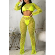 Lovely Casual Hollow-out Green Two-piece Pants Set