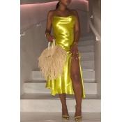Lovely Sexy Spaghetti Strap Side Split Yellow Mid Calf Dress