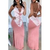Lovely Casual Halter Neck Printed Pink Floor Length Dress