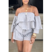 Lovely Sweet Off The Shoulder Ruffle Design Grey Two-piece Shorts Set