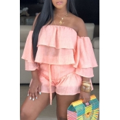 Lovely Sweet Off The Shoulder Ruffle Design Pink Two-piece Shorts Set