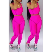 Lovely Casual U Neck Patchwork Rose Red Two-piece Pants Set