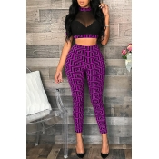 Lovely Casual O Neck Printed See-through Purple Two-piece Pants Set