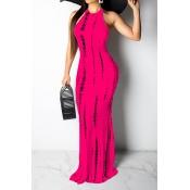 Lovely Casual Tank Sleeveless Rose Red Floor Length Dress