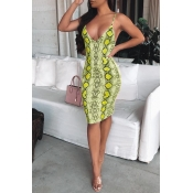 Lovely Sexy Snakeskin Pattern Printed Green Knee L