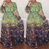 Lovely Stylish V Neck Peacock Printed Green Ankle