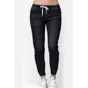 Lovely Casual Drawstring Black Jeans