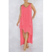 Lovely Casual V Neck Asymmetrical Light Pink Mid Calf Dress(Nonelastic)