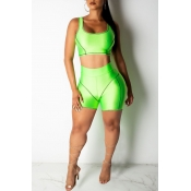 Lovely Casual U Neck Patchwork Green Two-piece Shorts Set