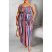 Lovely Stylish Spaghetti Straps Striped Multicolor