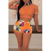 Lovely Sexy Printed See-through Jacinth Two-piece Shorts Set
