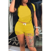 Lovely Casual O Neck Hollow-out Yellow Two-piece Shorts Set