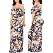 Lovely Casual Off The Shoulder Printed Floor Lengt