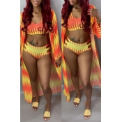 Lovely Printed Hollow-out Orange Three-piece Swimw