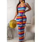 Lovely Casual U Neck Striped Yellow Ankle Length D