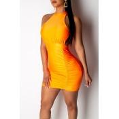Adorable Sexy Cuello O Hueco-hacia Fuera Naranja Mini A Línea D