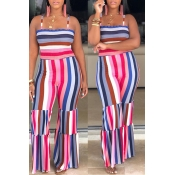 Lovely Stylish Off The Shoulder Striped Printed Rose Red One-piece Jumpsuit