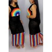Lovely Casual Tassel Design Patchwork Black Beach Dress