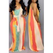 Lovely Casual U Neck Striped Multicolor Floor Length Dress