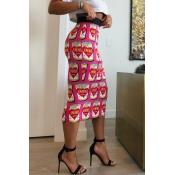 Lovely Trendy Printed Pink Straight Mid Calf Skirt