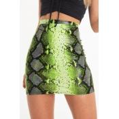 Lovely Stylish Snakeskin Pattern Printed Green Min