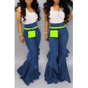 Lovely Casual High Waist Ruffle Design Blue Jeans(