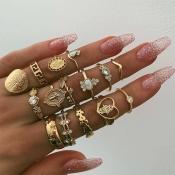 Lovely Fashion Rhinestone Decoration Gold Metal Ri