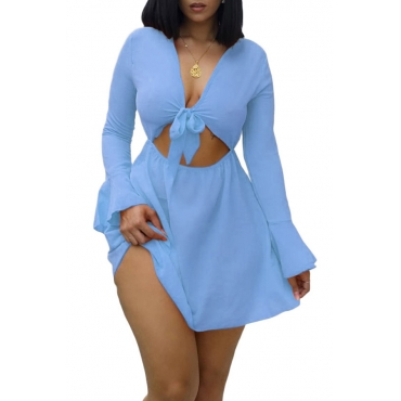 Lovely Sexy  V Neck Hollow-out Baby Blue Mini A Line Dress