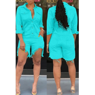 Lovely Casual Buttons Design Sky Blue Denim One-piece Romper