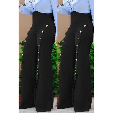 Lovely Stylish High Elastic Buttons Design Black Pants