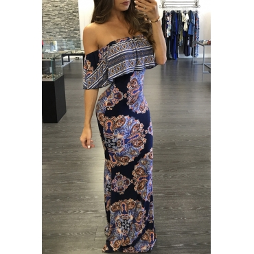 Lovely Stylish Off The Shoulder Totem Printed Floor Length Dress