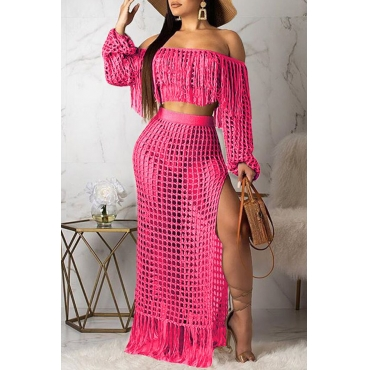 Lovely Sexy Hollow-out Tassel Design Pink Two-piece Skirt Set(Without Lining)