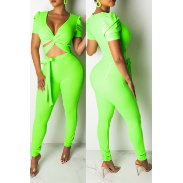 Lovely Casual V Neck Hollow-out Green Two-piece Pants Set