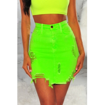 Lovely Casual High Waist Broken Holes Green Denim Knee Length A Line Skirt